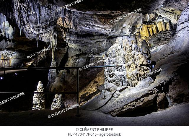 Stalactites, stalagmites and columns in limestone cave of the Caves of Han-sur-Lesse / Grottes de Han, Belgian Ardennes, Belgium