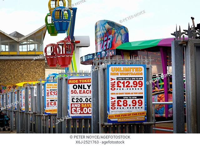 Fairground ride prices for wristbands signs