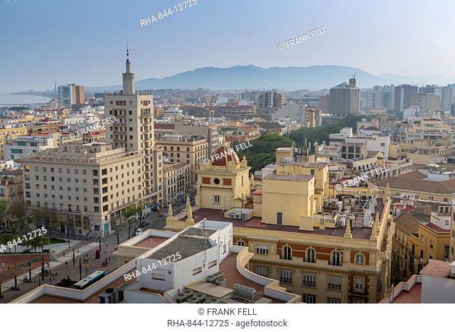 Elevated view of Alameda Principal, Malaga, Costa del Sol, Andalusia, Spain, Europe