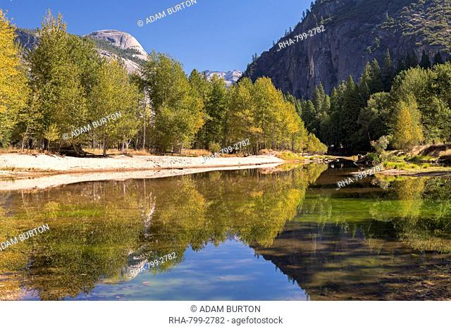 Autumn colours along the banks of the River Merced, Yosemite Valley, California, United States of America, North America