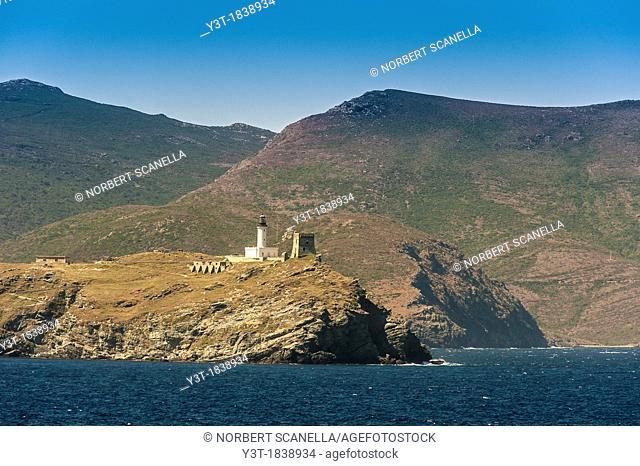 Europe, France, Haute-Corse, Cap Corse, Barcaggio. Giraglia island and its lighthouse