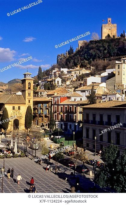 Plaza Nueva, Santa Ana Church and Torre de la Vela Alambra  Granada, Andalucia, Spain