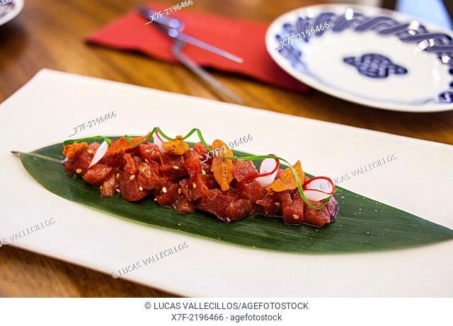 Tapa,tuna,tartar with soya, ginger and wasabi sauce.Tickets Bar,AV del Paralelo 164, Barcelona, Spain