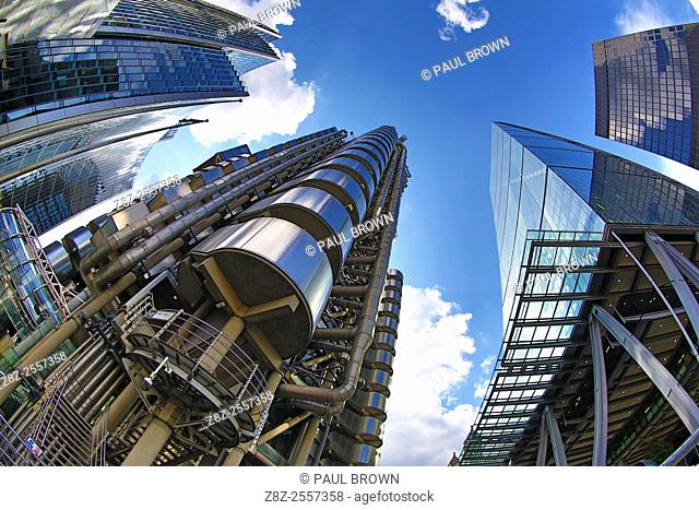 Lloyd's of London and the Leadenhall Building aka the Cheesegrater, London, England