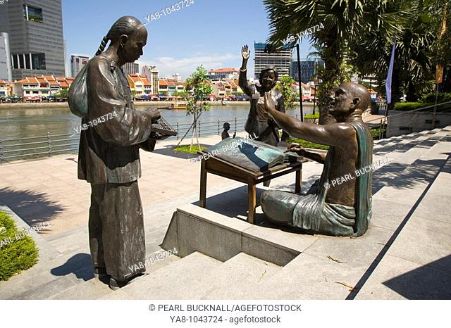Marine Parade Singapore  From Chettiars to Financiers - bronze sculptures on North Boat Quay of river by Chern Lian Shan depicting city's historic financial...