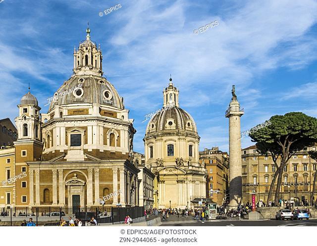santa maria di loreto and santissimo nome di maria al foro traiano churches and trajan's column, piazza venezia, rome, lazio, italy