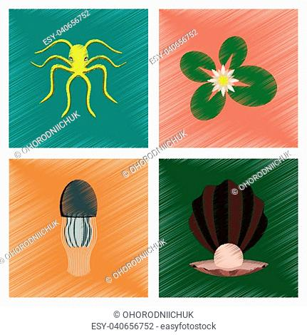 assembly flat shading style illustration of octopus jellyfish water lily pearl mussel