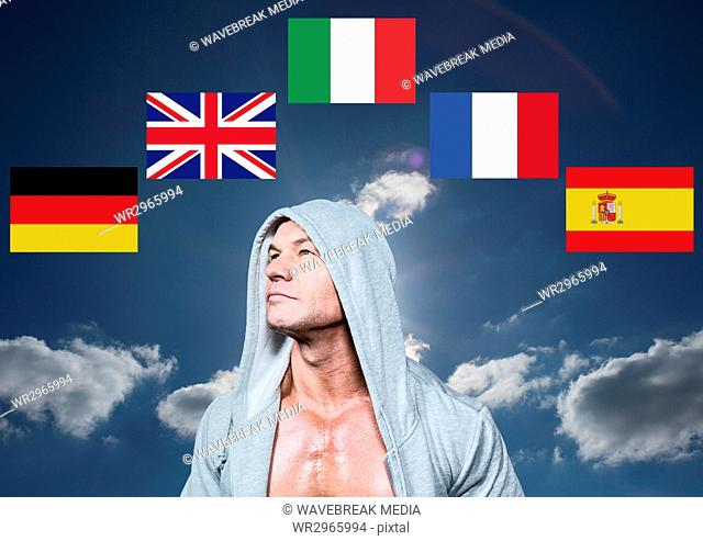 main language flags around man with jumper. Sky background