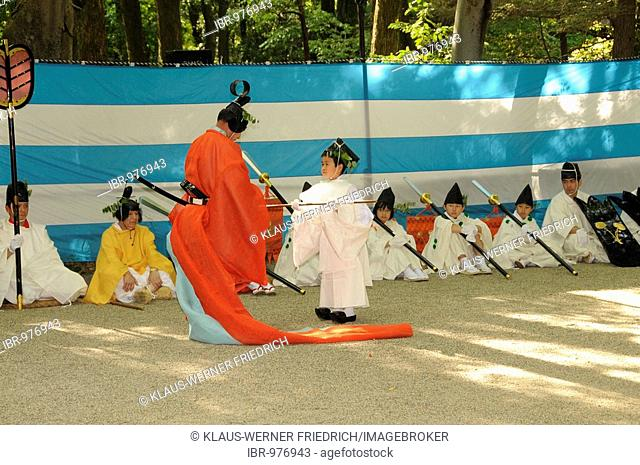 Return of the procession from the Hie mountain to the Shimogamo shrine, end of the ceremonial acts, Kyoto, Japan, Asia