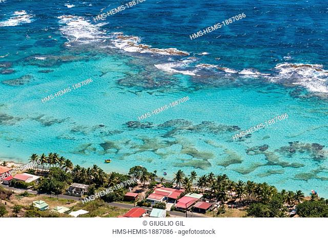 France, Guadeloupe (French West Indies), La Desirade, view on south coast and Anse d'en Haut, seen from up side mount
