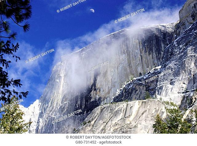 Cloud covered granite monolith in Yosemite National Park, California, USA