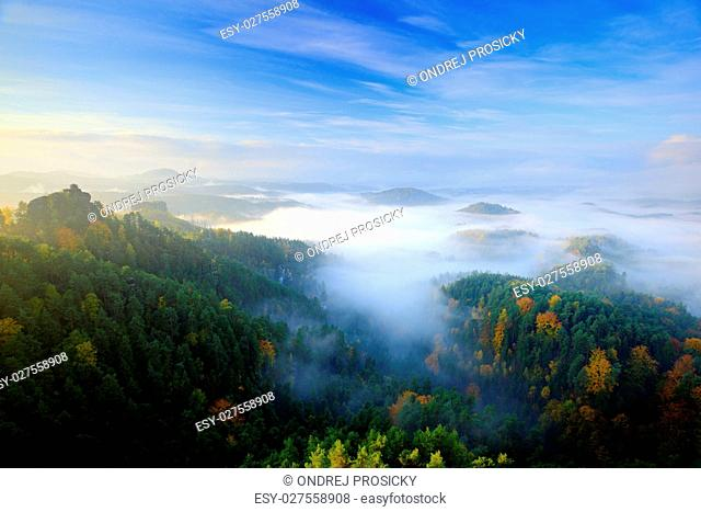 Czech typical morning autumn landscape
