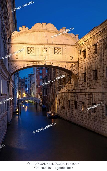 Early morning twilight over Ponte dei Sospiri - Bridge of Sighs, Venice, Veneto, Italy