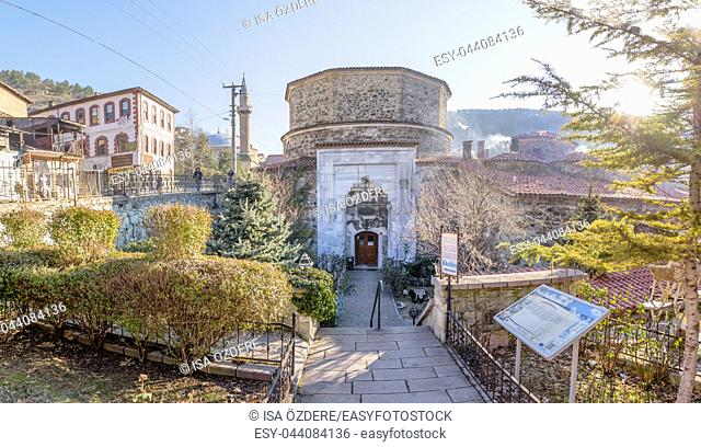 Exterior view of Yildrim Bayezid Hammam,Turkish Bath, in Mudurnu district,Bolu Turkey. 27 January 2018