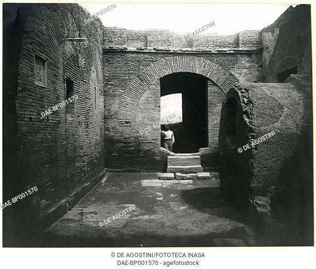 Buildings in the archaeological area of Ostia Antica, Lazio, Italy, ca 1910