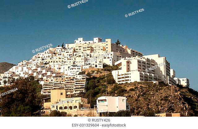 The white village of Mojacar spain against a blue sky