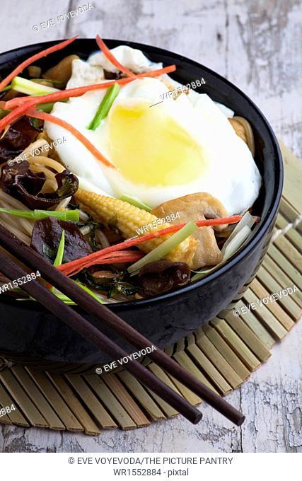 Egg noodles with shiitake mushrooms