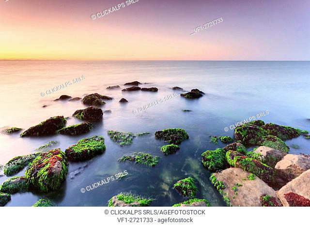 Europe, Italy, Veneto, Caorle. Sunrise on the Adriatic sea