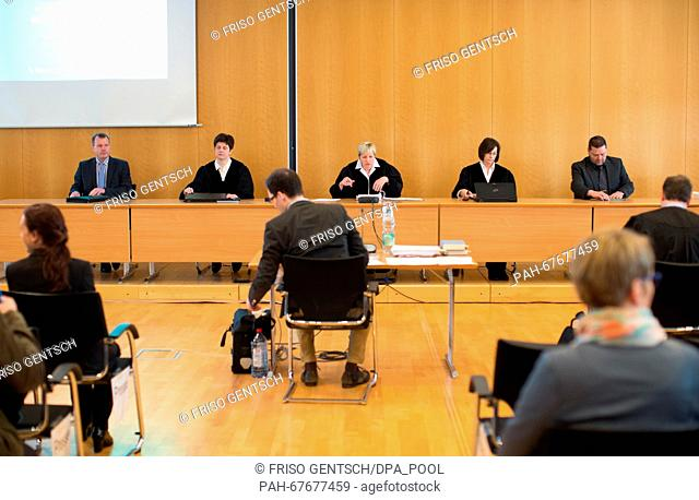 The Chamber and presiding judge Anke Grudda (C) attend another day of trial against defendant Reinhold Hanning in Detmold, Germany, 22 April 2016