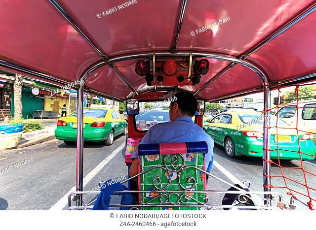 Bangkok, Thailand: Interior of a Tuk Tuk, the most common mean of transportation in Bangkok