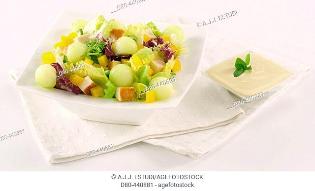 Salad of chicken and melon