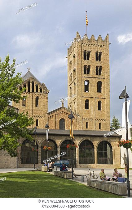 Ripoll, Girona Province, Catalonia, Spain. Monastery of Santa Maria de Ripoll. The Romanesque style Benedictine monastery was founded in the 9th century