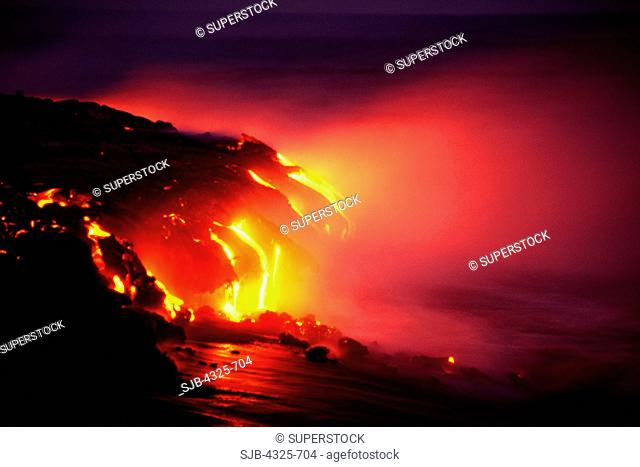 Lava Flows From Kilauea to the Ocean at Night