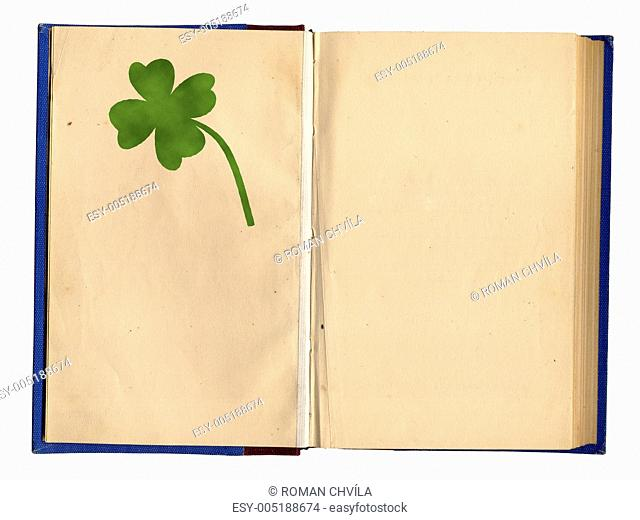 Open Empty Book With Four-Leaf Clover