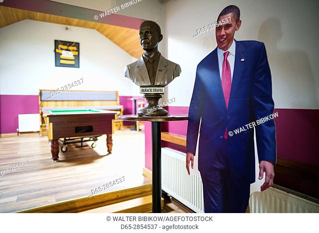 Ireland, County Offaly, Moneygall, Hayes' Bar and Pub, site of US President Barack Obama's visit, interior with bust and life size portrait of President Obama
