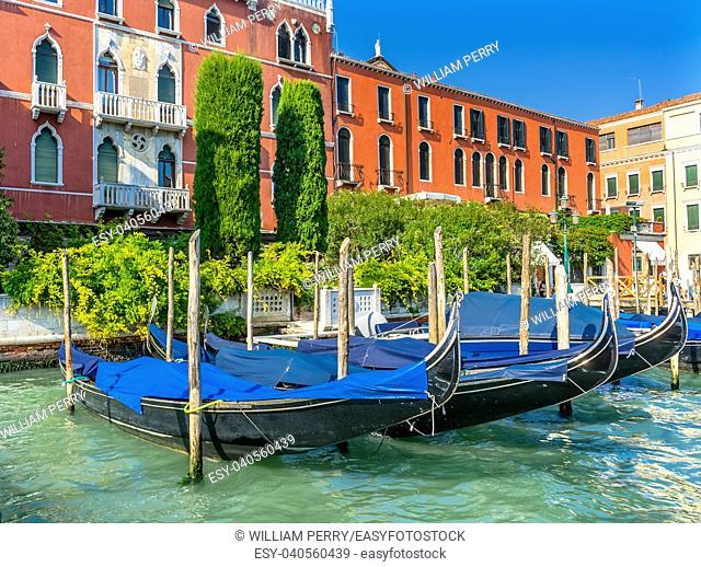 Colorful Grand Canal BlueGondola Reflections Venice Italy