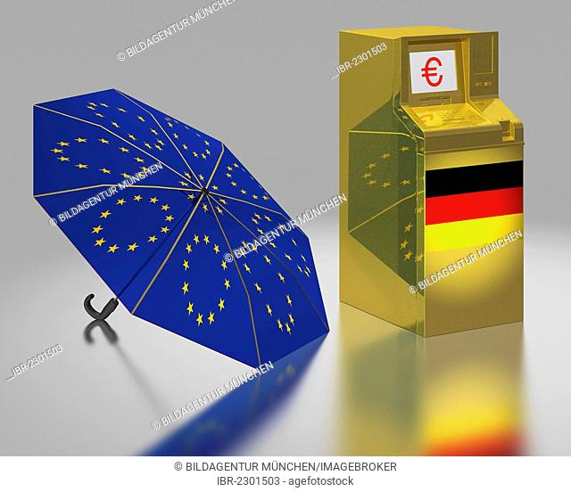 ATM with a German flag beside an umbrella with the stars of the EU, symbolic image for the euro rescue package, illustration