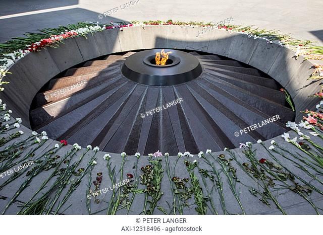 Eternal flame dedicated to the 1.5 million people killed during the Armenian Genocide in the Armenian Genocide memorial complex on Tsitsernakaberd hill; Yerevan