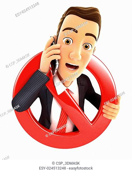 3d businessman on phone surrounded by a forbidden sign