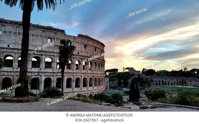 Outside the Roman Colosseum. Rome, Italy