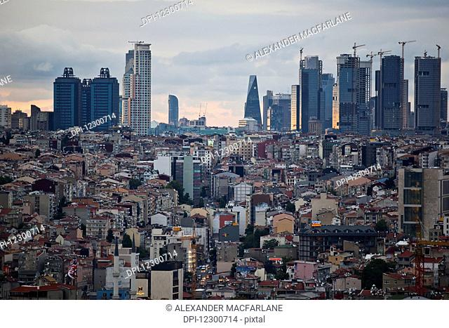 View of Levent business district from rooftop bar at dusk; Istanbul, Turkey