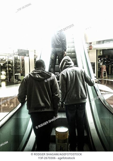 Hoodie on an escalator. Cape Town, South Africa