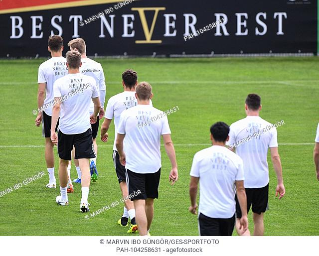 Players before Best Never Rest. GES / Football / Preparing for the 2018 World Cup: Training of the German national team in South Tyrol, 24.05