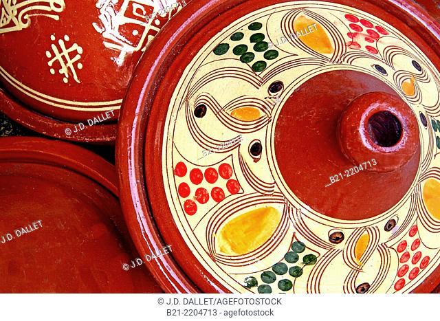 Ceramic plates to make 'tajine' in, Morocco