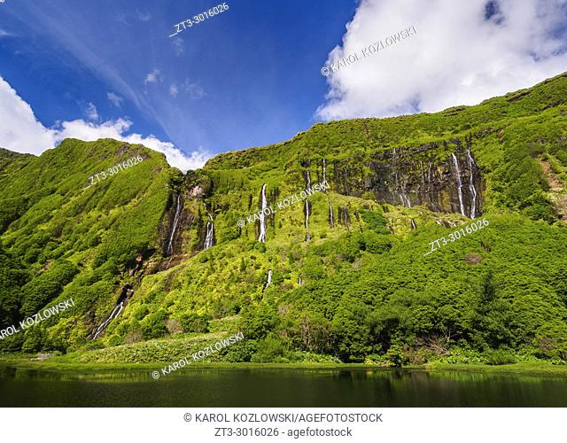 Waterfalls by the Poco da Alagoinha, Ribeira Grande, Flores Island, Azores, Portugal