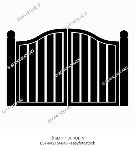 Old gate icon black color vector illustration flat style simple image