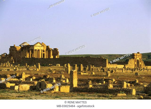 Tunisia, Sbeitla, ruin field, dusk,    North Africa, sight, destination, Roman Sufetula, antique, archaeological place, archaeology, remains, ruins, temples