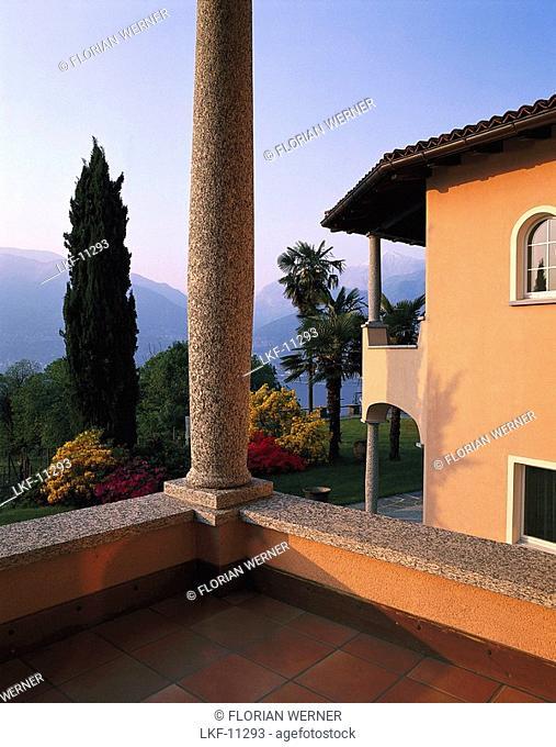 View from the balcony of a mansion, Riviera del Gambarogno, Lago Maggiore, Ticino, Switzerland