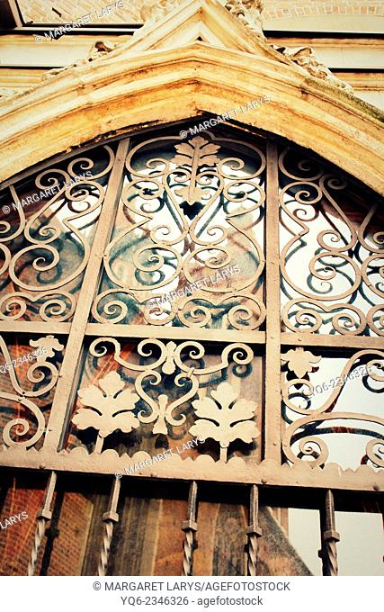 Abstract, old decorative metal protection for windows in Krakow Old Town, Poland
