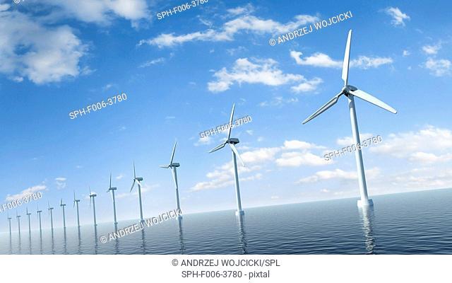 Wind turbines, computer artwork