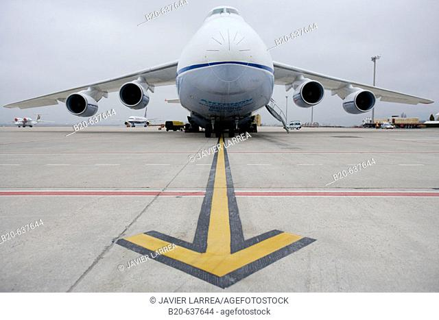 Antonov cargo aircraft at Foronda Airport. Alava, Euskadi, Spain