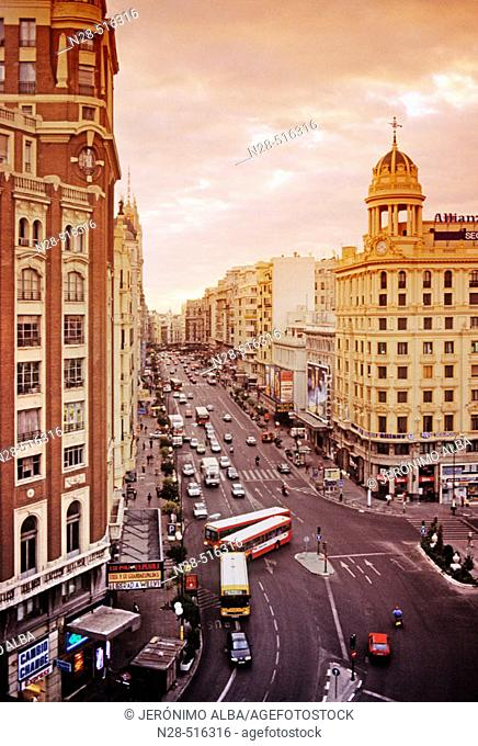 Gran Via. Madrid. Spain