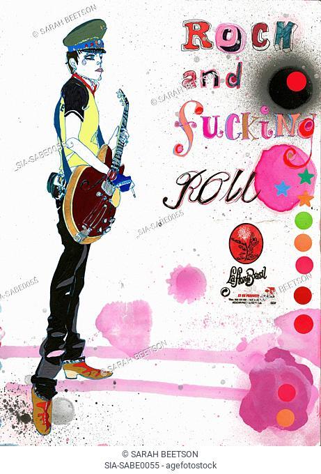 Young man playing rock music