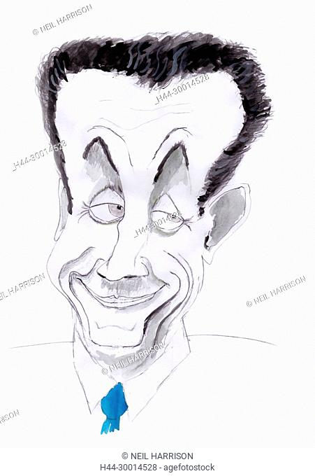 Watercolour caricature of Nicolas Sarkozy, ex-president of France