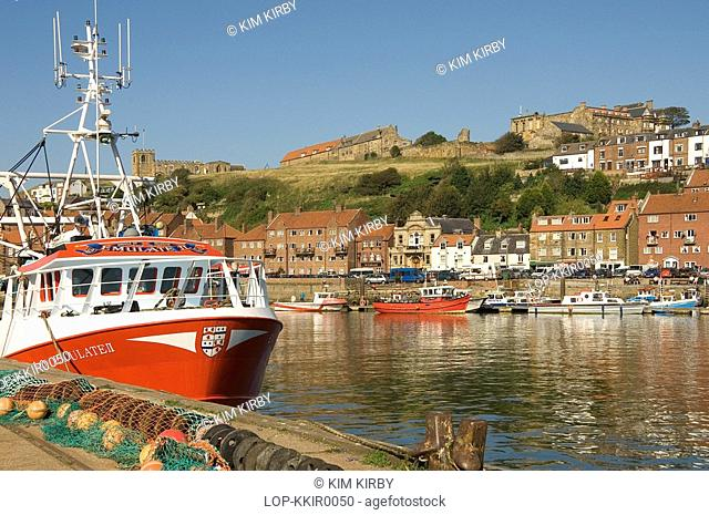 England, North Yorkshire, Whitby, A view of the fishing boats moored at Whitby Harbour