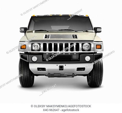 Hummer H2 full-size SUV isolated with clipping path on white background